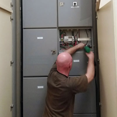 Working on an electrical switchboard